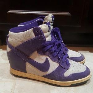 NIKE Dunk Hi Purple Wedge Sneakers- Size 8